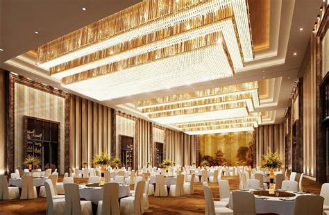 Banquet Interior Design In India by Luxurious Banquet Lighting And Wall Design Rendering