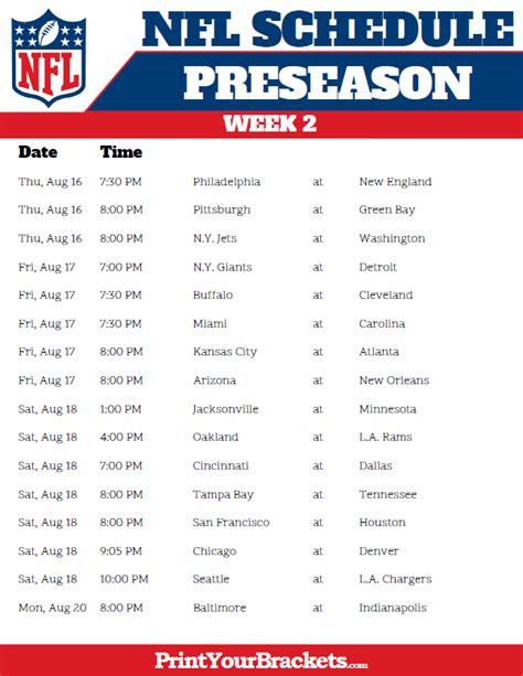 printable schedule of nfl games printable 2018 nfl preseason schedule