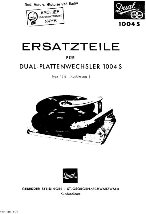 Dual 1216 Turntable Service Manual Free Download