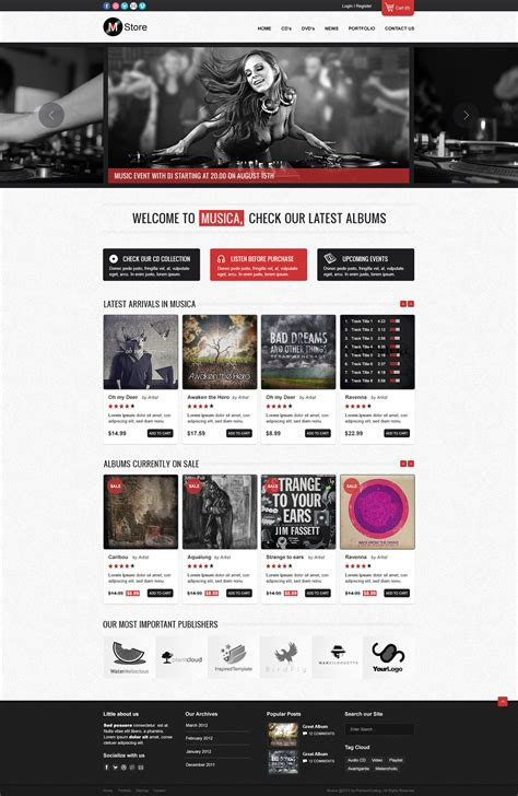 ecommerce site template freebie musica ecommerce website template psd