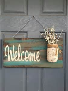 home decor signs rustic blue green welcome outdoor decor signs home by