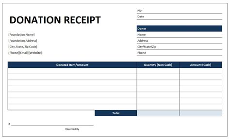 donation receipt template free excel templates and