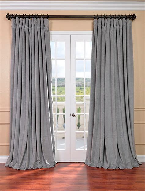 wide pocket valance curtain signature silver grey double wide velvet blackout pole