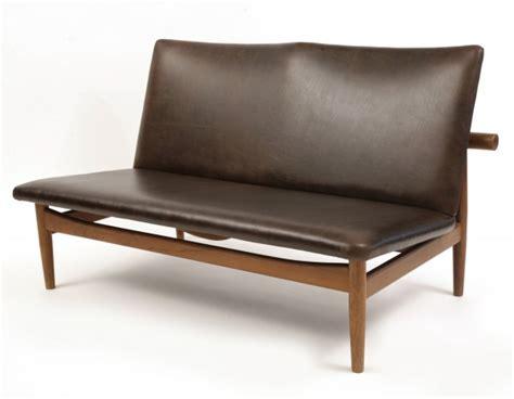 Finn Juhl Leather & Teak Loveseat   red modern furniture