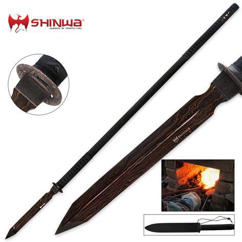 sided spear shinwa edged black damascus warrior spear budk