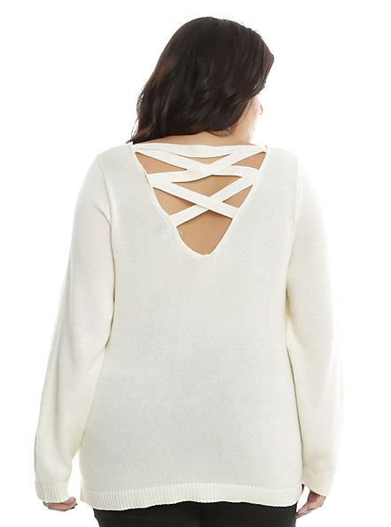 Sweater Musically ivory lace up back is sweater plus size topic