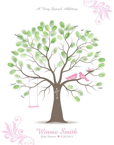 Thumbprint Baby Shower Tree by Items Similar To Baby Shower Thumbprint Tree Guest Book