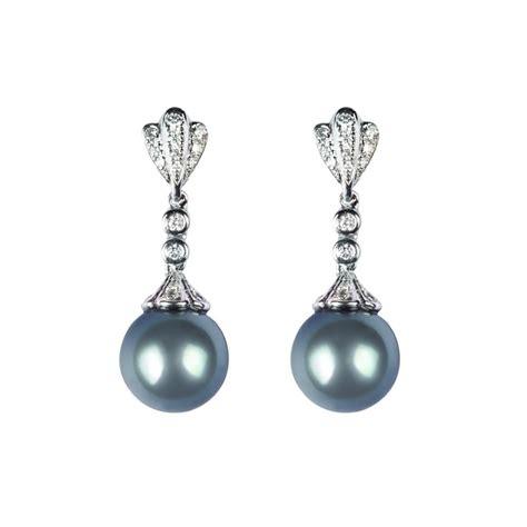 and black pearl drop earrings ref lge115