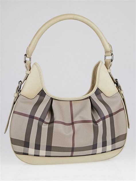 Burberry Check Canvas Hobo Bag Bliss by Burberry Smoked Check Coated Canvas Small Hobo