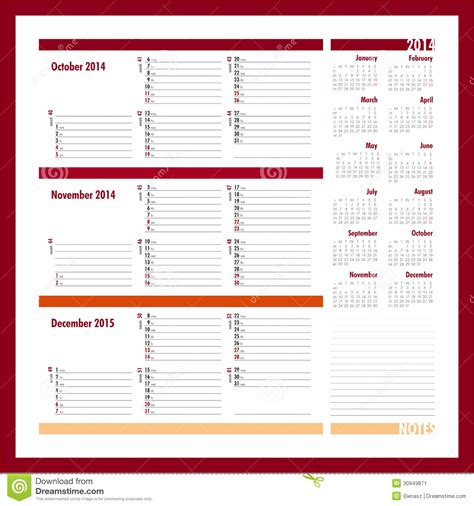 printable calendar 2014 october november december vector planner for 2014 october november december