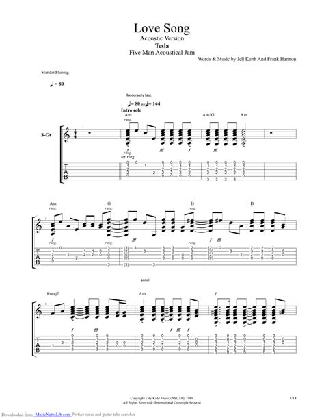 Tesla Guitar Tabs Song Acoustic Version Guitar Pro Tab By Tesla