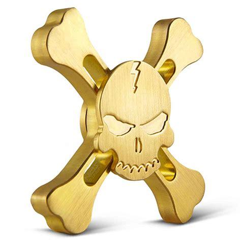 Gold Skull Fidget Spinner best quality skull and crossbones fidget spinner brass