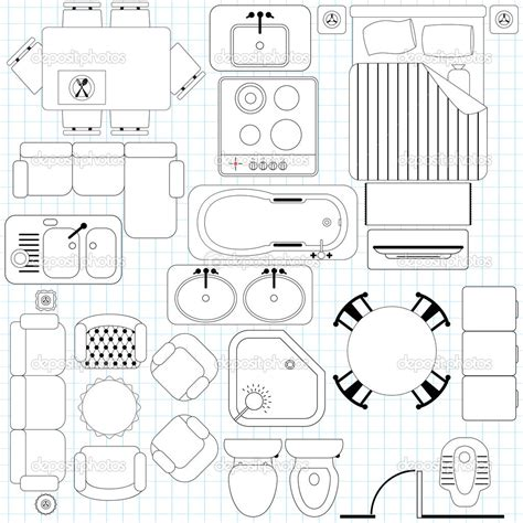 furniture icons for floor plans 17 tables and chairs vector plan view images free floor