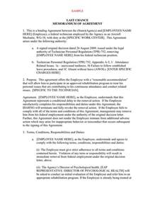 Last Chance Agreement Letter Sle Last Chance Memorandum Of Agreement In Word And Pdf Formats