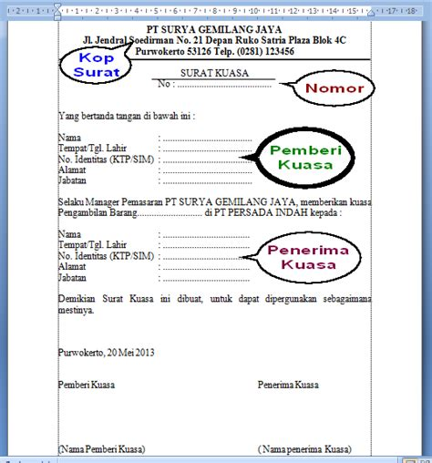 contoh format surat kuasa surat kerja