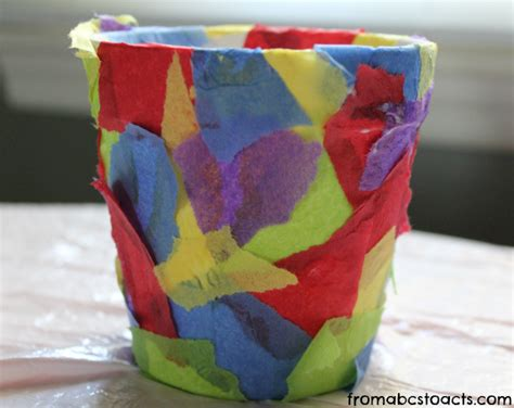 Flower Pot Paper Craft - springtime crafts for tissue paper flower pot