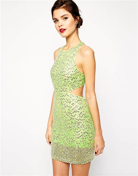 Dress Mini Vb Premium asos carpet premium mini sequin dress lime in green