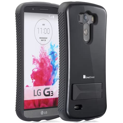 rugged hybrid soft cover skin w stand for lg g3