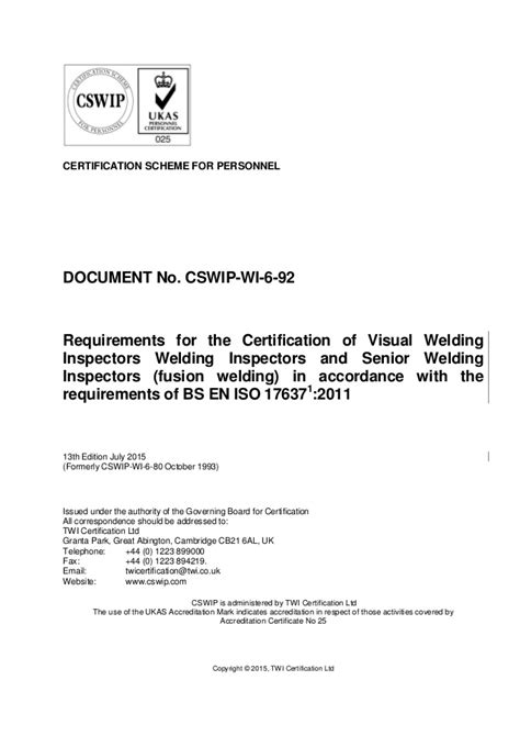 Cswip wi-6-92 13th edition july 2015