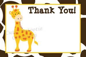 jungle giraffe thank you cards