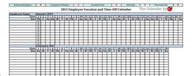 vacation calendar template 2015 employee vacation absence tracking calendar 2015