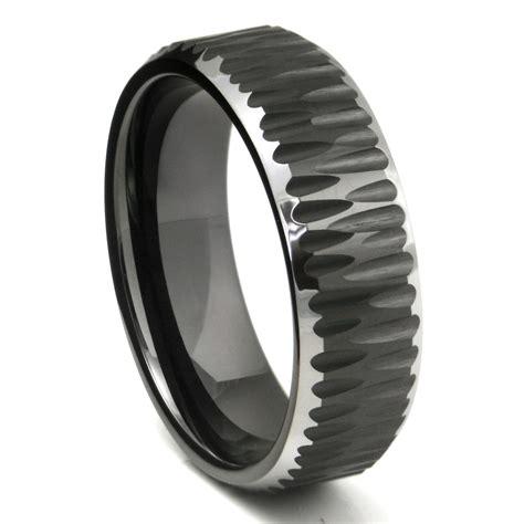 Wedding Band Tungsten Carbide by Black Tungsten Carbide Hammer Finish Beveled Wedding Band Ring