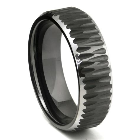 Tungsten Carbide Ring Wedding by Black Tungsten Carbide Hammer Finish Beveled Wedding Band Ring