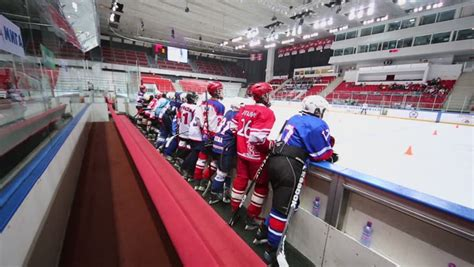 bench hockey moscow apr 28 young hockey players stand near bench