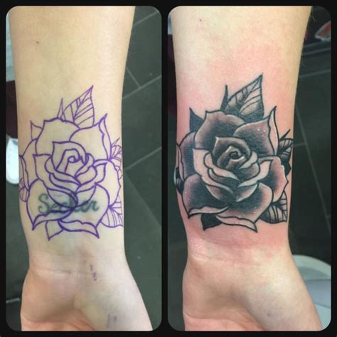 rose tattoo cover up ideas black and grey cover up from yesterday tattoos