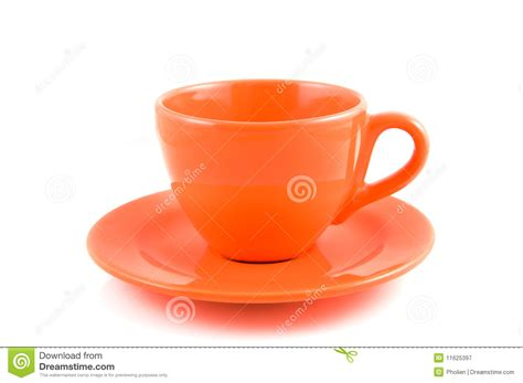 Cup With Plate orange coffee cup with plate royalty free stock