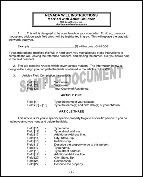 Download Nevada Last Will And Testament Form For Free Page 3 Formtemplate Free Nevada Will Template
