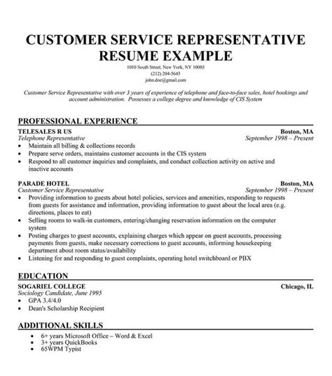 Resume Exles For A Customer Service Customer Service Representative Resume Whitneyport Daily