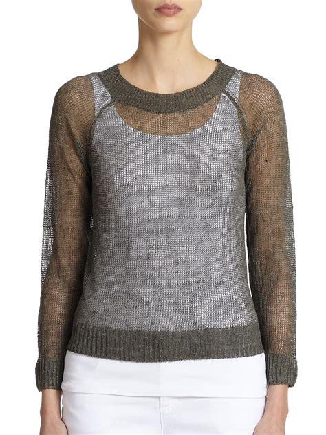 knitting pattern linen sweater eileen fisher linen cotton open knit sweater in green lyst