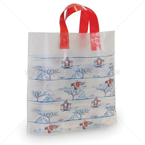 santa on ice premium plastic carrier bags from carrier bag