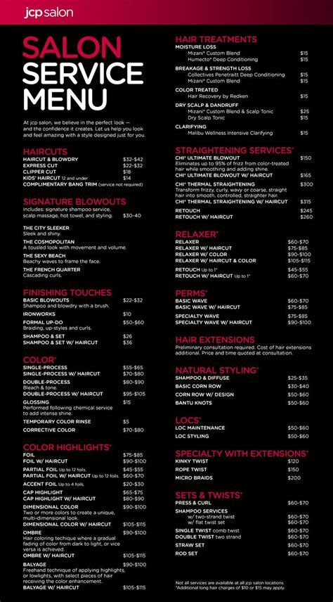 best 25 salon menu ideas on pinterest beauty price list