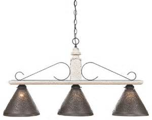 Wrought Iron Island Lighting Wood And Wrought Iron Bar Island Light With Punched Tin Shades Industrial Kitchen Island