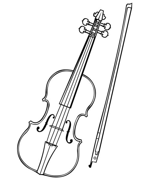 violin clipart black and white pencil and in color