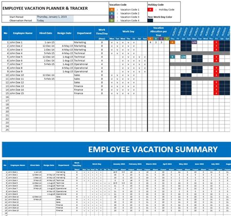 Employee Vacation Planner Excel Templates Excel Spreadsheets Excel Templates Excel Employee Vacation Planner Template Excel