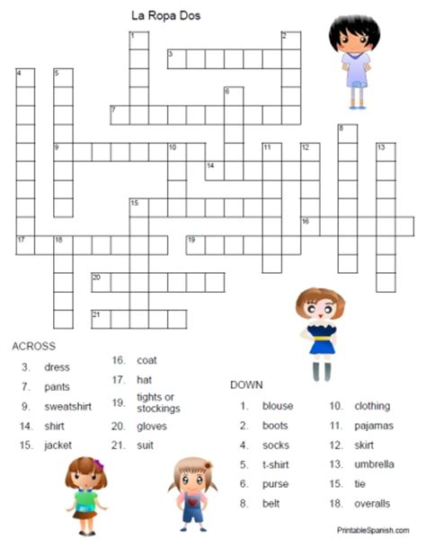 printable worksheets with answer key 8 best images of spanish clothing printable worksheet