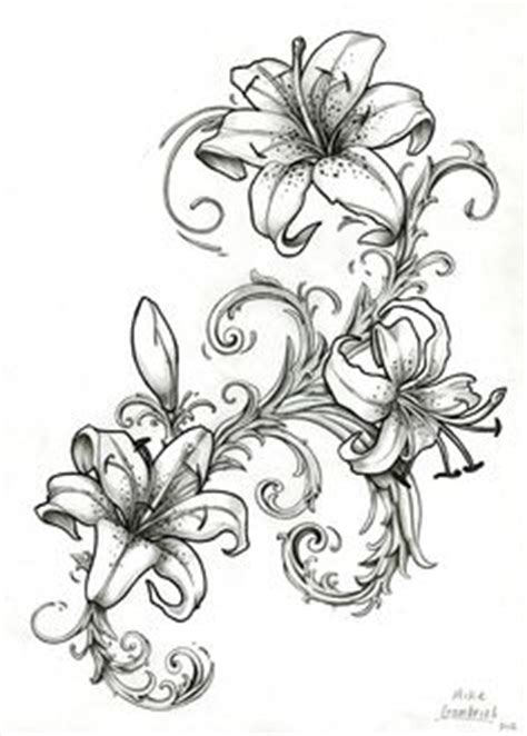 tattoo flash lily stargazer lily drawing outline viewing gallery pictures