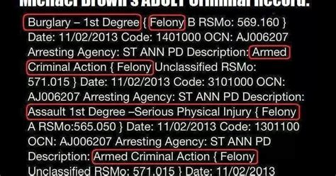 Ferguson Michael Brown Criminal Record 90 From Tyranny Michael Brown S Criminal Record
