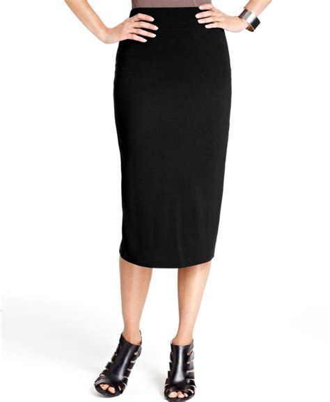 inc new black lined pull on mid calf column pencil skirt