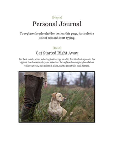 personal journal template personal journal office templates