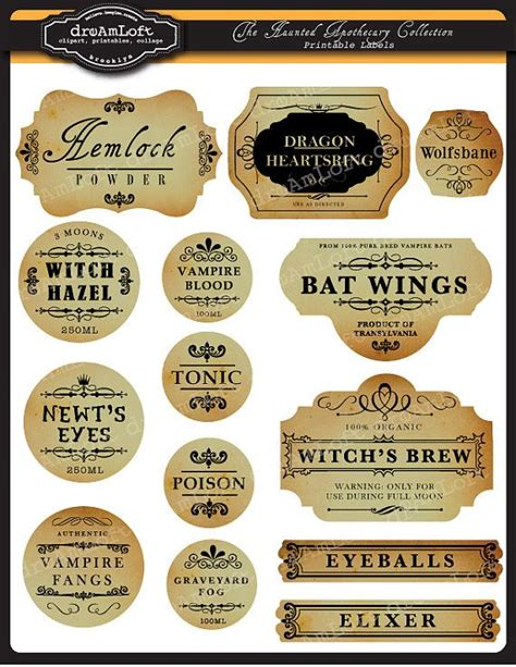 printable apothecary labels the haunted apothecary frames and labels for personal and