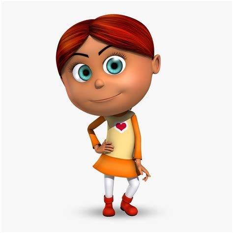 3d little girl pw rigged cartoon kid girl animation 3d max