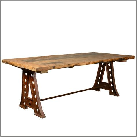 industrial reclaimed wood dining table 84 quot industrial reclaimed teak wood iron trestle pedestal