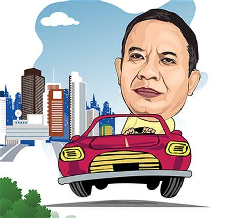 template karikatur photoshop karikatur bos direktur naik mobil lucu banten art design
