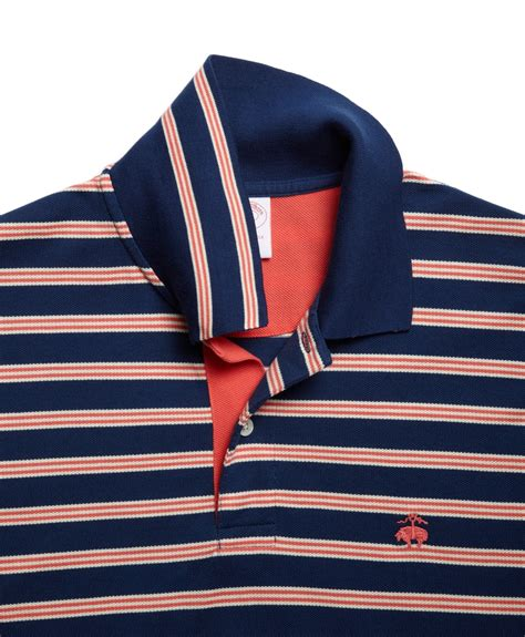 Polo Bb Stripe Navy Blue brothers golden fleece original fit bb1 stripe pique polo in blue for lyst