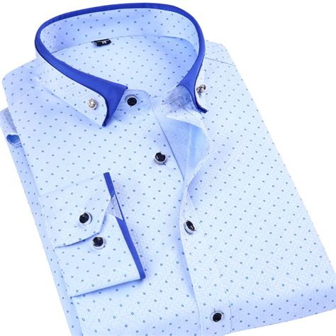 pattern business shirt men s regular fit polka dot print dress shirt fashion
