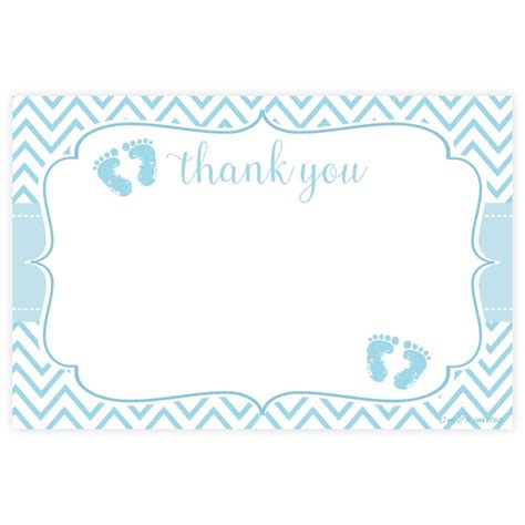 Thank You Gift Card Baby Shower - blue feet boy baby shower thank you cards m h invites
